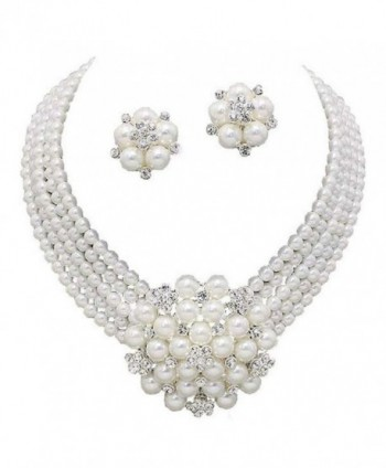 Elegant Statement White Pearl Cluster Crystal Bridal Silver Chain Necklace Set CLIP ON Earring - CQ12IPMJFK7