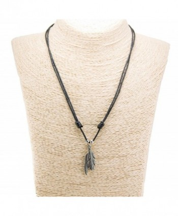Two Metal Feather Pendants with Silver Colored Beads on Adjustable Black Rope Cord Necklace (Old Silver) - CX12O5LQACQ