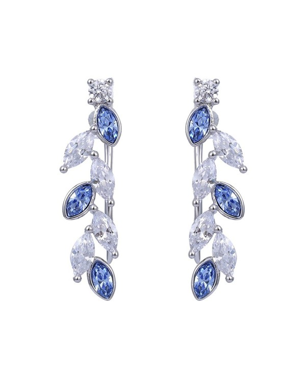 Xuping Black Friday Ear Crawler Earrings Climbers Crystals from Swarovski Women Jewelry Gifts - Sapphire - CL187R6TE0L