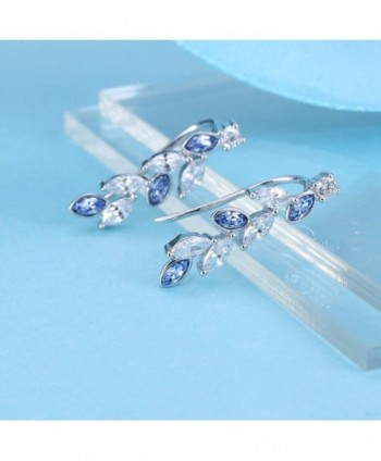 Earrings Climbers Crystals Swarovski Sapphire in Women's Clip-Ons Earrings