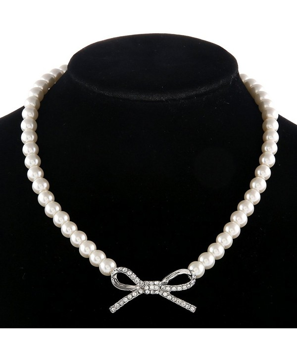 BOCAR Handmade Statement Crystal Jewelry Pearl Collar Pendant Necklace for Women - C612EWU8QZB