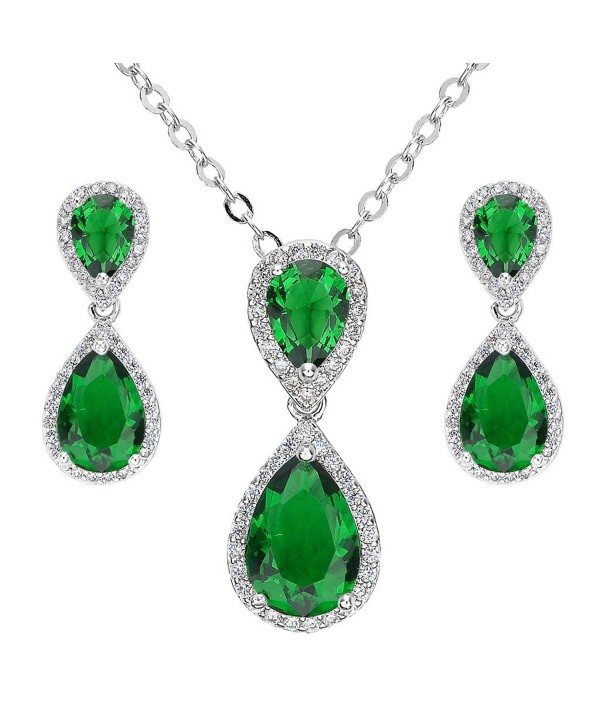 EVER FAITH Prong CZ Wedding 2 Tear Drop Necklace Earrings Set - Silver-Tone Emerald Color - CE11SG6371B