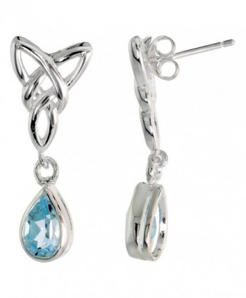 Sterling Silver Genuine Blue Topaz Triquetra Earrings Celtic Trinity Knot Teardrop- 1 1/4 inch - C01139R4ZXV