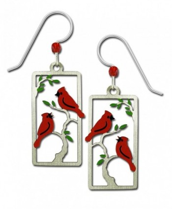 Sienna Sky Red Cardinals in Tree Hand Painted Bird Earrings with Gift Box Made in USA - CB182LK02K9