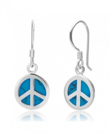 925 Sterling Silver Blue Turquoise Stone Peace Sign Round Dangle Hook Earrings - CX110DNNXRX