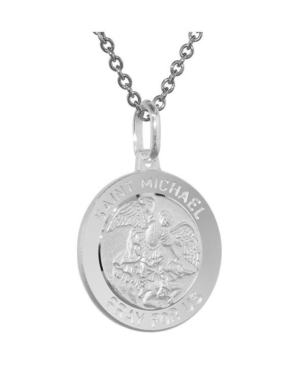 Sterling Silver St Michael Medal Necklace 3/4 inch Round Italy 0.8mm Chain - CJ11130Y06D