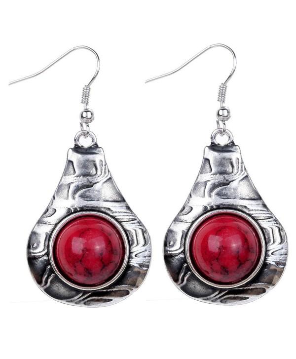 Yazilind Vintage White Round Stone Dangle Drop Hook Earrings Women Gift - Red - CF11NXHEFZP