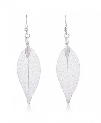 Filigree Leaf Earrings Ethnic Bohemian Earrings Women's Metallized Real Leaf Dangel Earrings - Silver Leaf - CW186OHY2C3