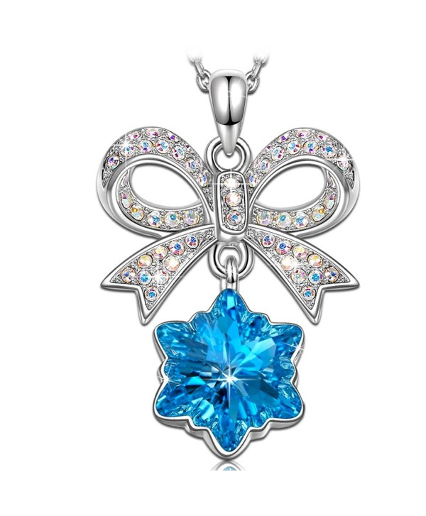 KATE LYNN [Luxury Jewelry Gift Packing] Women SWAROVSKI Crystals Gifts Snowflake Blue Pendant Necklace - CE1870EN4QQ