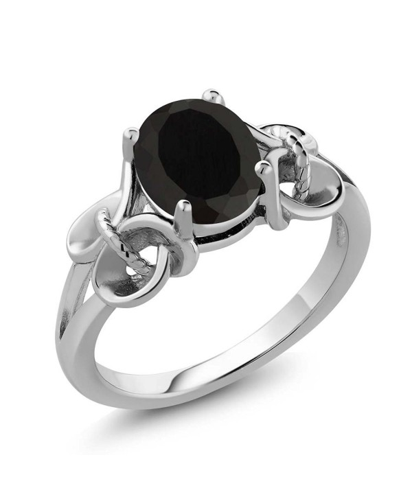 2.60 Ct Oval 9x7mm Black Onyx 925 Sterling Silver Women's Ring (Available in size 5- 6- 7- 8- 9) - CO116T1Q5M3