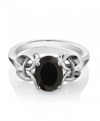 9x7mm Black Sterling Silver Womens