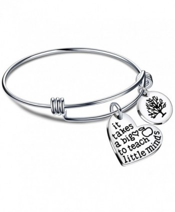 Expandable Bangle Bracelets Teacher Gifts for Graduation It takes a big heart to teach little minds - Style B - C5186L7UAZL