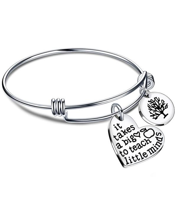 Expandable Bangle Bracelets Teacher Gifts for Graduation It takes a big heart to teach little minds - Style B - C5186L7UAZL