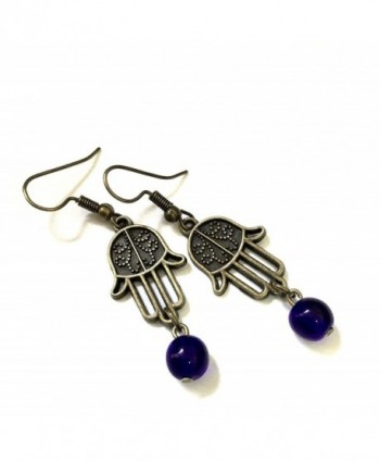 Hamsa Earrings Bronze & Blessing Prayer - Protection/Good Luck - Boxed & Gift Wrapped - CI11SJSJU53