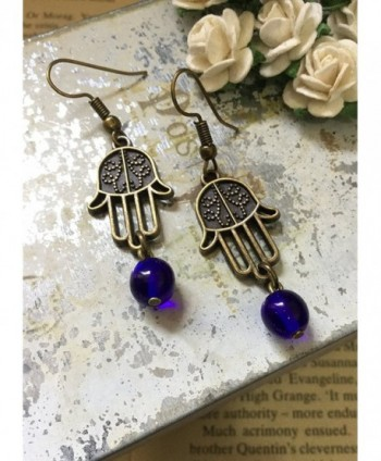 Hamsa Earrings Bronze Blessing Prayer