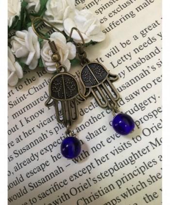 Hamsa Earrings Bronze Blessing Prayer in Women's Drop & Dangle Earrings