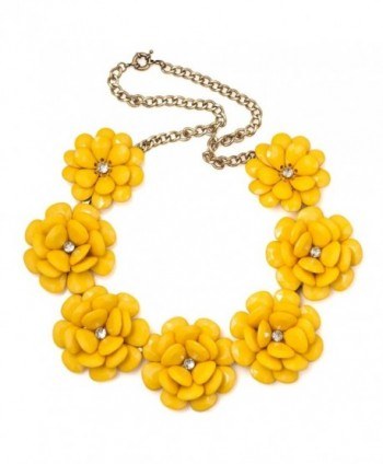 LuckyJewelry Vintage Women Flower Choker Chunky Statement Bib Pendant Necklace Golden Chain - Yellow - CD12J4BRV63
