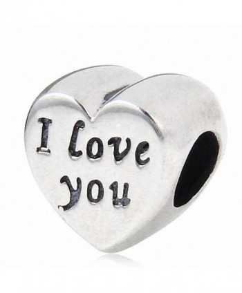 Letter I Love You Charms 925 Sterling Silver Heart Charm for Charms Bracelet - CD182S3O8AY