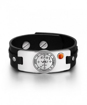 Archangel Michael Sigil Magic Powers Amulet Tag Red Jasper Gemstone Adjustable Black Leather Bracelet - CT129CIT74H