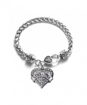 Gymnastics Pave Heart Charm Bracelet Silver Plated Lobster Clasp Clear Crystal Charm - CF123HZ6767