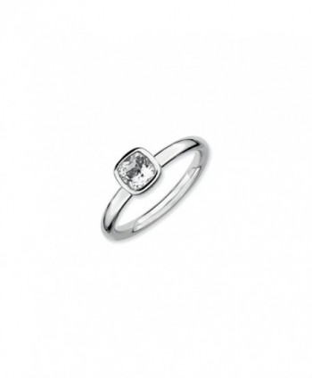 Silver Stackable Cushion Cut White Topaz Solitaire Ring - CB118CS7IUJ