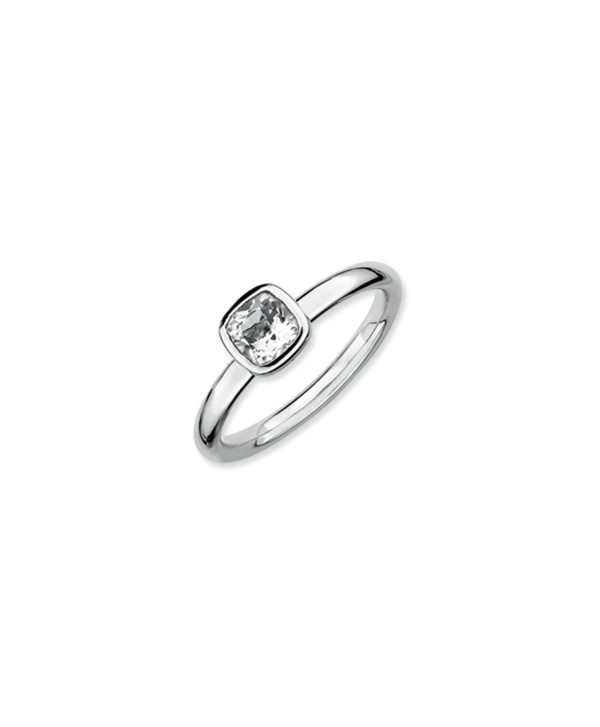 Silver Stackable Cushion Cut White Topaz Solitaire Ring - CB118CS7IUJ