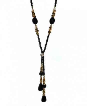 Beaded Rhinestone and Gem Long Y Necklace - SLIVER - CV1242FCXJ1