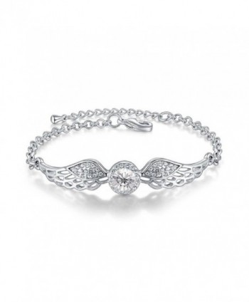 "Crystals from Swarovski White Angel Wings Bangle Bracelet 18 ct White Gold Plated for Women 7.2"" - CF12MZTT7FJ"