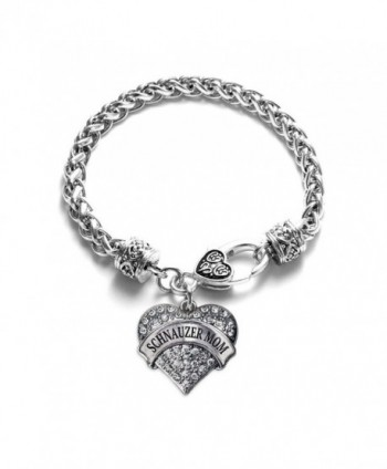 Schnauzer Mom Pave Heart Charm Bracelet Silver Plated Lobster Clasp Clear Crystal Charm - CR123HZBOUB