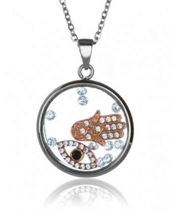 Womens Pendant Necklace CZ Shaker Floating Hamsa and Evil Eye Stainless Steel Ladies - CE12LZKUX1V