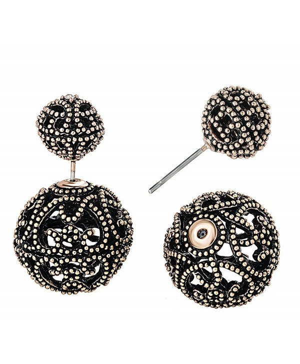 She Lian Vintage Hollow out Womens Double Side Round Ball Stud Earrings - Antique Gold Tone - C6129T6C18L