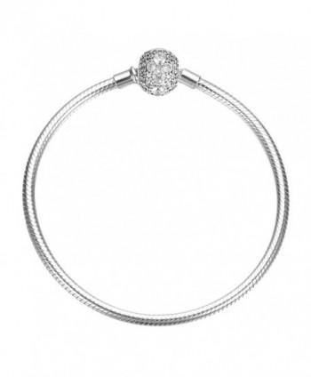SOUFEEL 925 Sterling Silver Bracelet Crystal Clasp Charm Bracelets Snake Chain Bracelets - CA12M83UHBP
