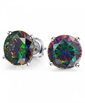 Bling Jewelry Round Simulated Rainbow Topaz CZ Screw Back Sterling Silver Stud Earrings 8mm - CS1235JYWSF