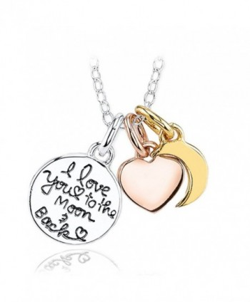 Inspirational Necklace for Women Teen Girls - Fashion Jewelry Pendant - Love To The Moon - Gifts - CE12IJPXHNB