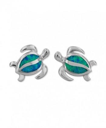 Sterling Silver Synthetic Blue Opal Turtle Stud Earrings - CJ11T35XWZP