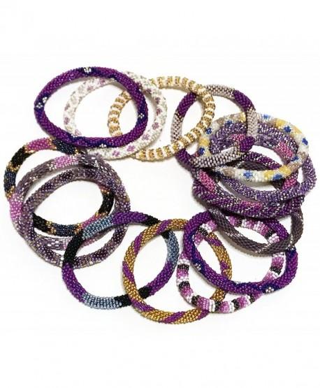 WigsPedia Handmade Crochet Glass Seed Bead Nepal Roll on Boho Bracelet - Wholesale Purple Scheme - CM12NUM7D6M
