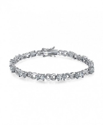 Bling Jewelry CZ Figure Eight Infinity Tennis Bracelet 7in Rhodium Plated - CO11L907WDF