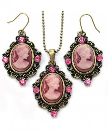 Pink Cameo Fashion Jewelry Set Necklace Pendant Dangle Drop Earrings - CR119AEAHVJ
