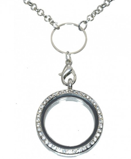30mm Round Silvertone Floating Charm Locket Necklace Chrystal Rim 29 Inch Slip On Lanyard Style Chain 820 - CH11A9X51IF