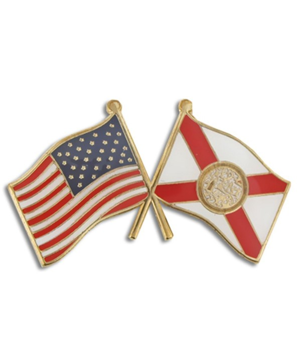 PinMart's Florida and USA Crossed Friendship Flag Enamel Lapel Pin - CW119PEM1NN
