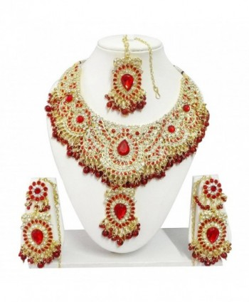 Indian Bollywood Jewelry Necklace Earrings - Red - CK187U2ELI5