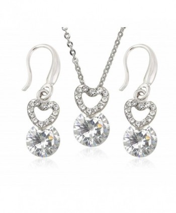 14k White Gold Plated Bridal / Bridesmaid Jewelry Sets - Dainty Necklace Sets for Women - C112M3459U3