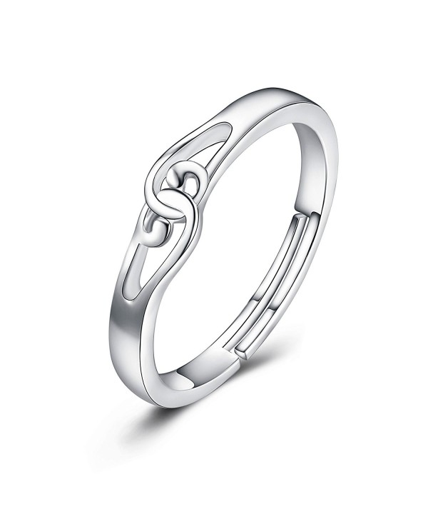 Sterling Silver Knot Ring Band for Women Girls Adjustable Open Ring US Size 5-9 - CW1884IE0DM