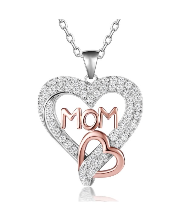 "Caperci Sterling Silver Gold/Rose Gold Plated Open Heart ""MOM"" Pendant Necklace- Mothers Day Gift for Mom - CY1872NI7I5"