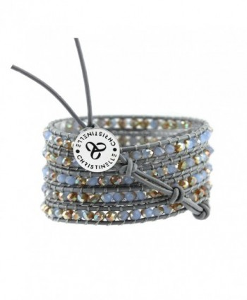 "CHRISTINELLE Leather Wrap Bracelet- Beaded Bracelets for Women- Colored Crystal Beads- 36"" - CN11Q0ESKTF"