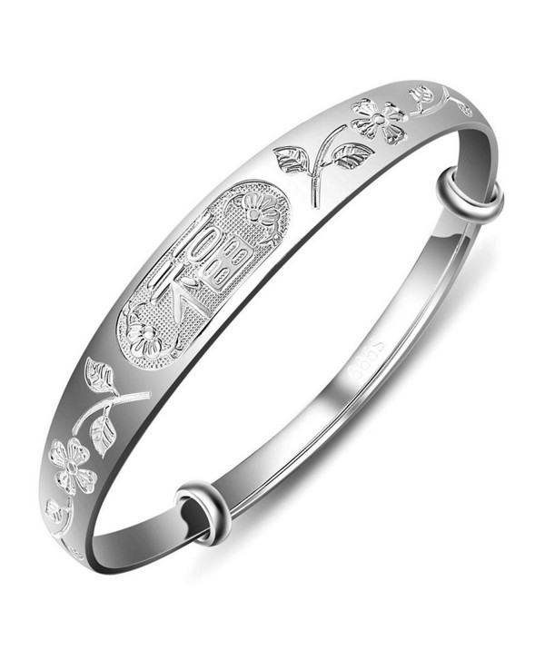 Merdia Women's 999 Sterling Silver Fu Flower Carved Bangle Bracelet 23g Weight for Wedding Gift - CZ128TDJYC1