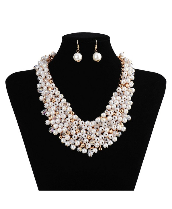 IPINK Fashion White Simulated Pearl Crystal Multi Strand Layer Chunky Jewelry Set - CX11VG7T48R