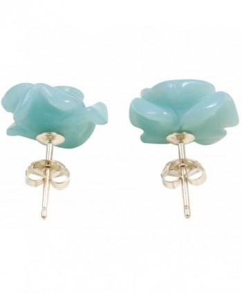 Carved Flower Sterling Silver Earrings in Women's Stud Earrings