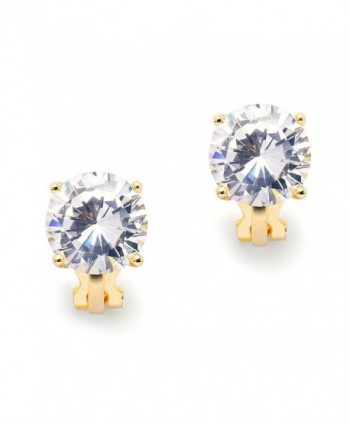 Mariell 3 Carat CZ Clip-On Earrings - 9.5mm Round Solitaire 14K Gold Plated Cubic Zirconia Clip Studs - C012CSMUX9H