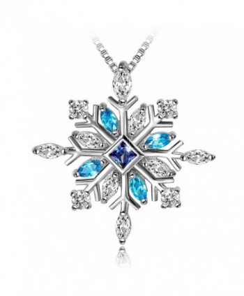 Long Way 925 Sterling Silver Snowflake Pendant Necklace with Blue CZ Long Way Fine Jewelry for Women - Blue - CZ188LIO8M2